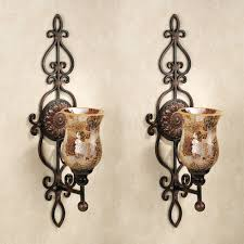 Rod Iron Home Decor Fab Floral Pattern Iron Handmade Candle Sconces Hang On White Wall