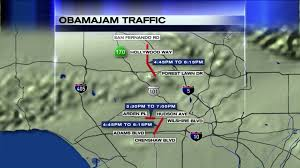Map Of West Los Angeles by President Arrives In L A And Obamajam Traffic Gridlock Begins