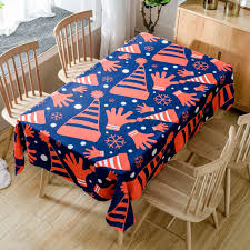 christmas hats and gloves printed waterproof table cloth red w