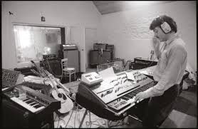 mccartney playing some synths in the studio keyboards