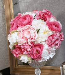 peonies for sale sale bridal bouquet wedding fabric bouquet pink ivory roses