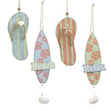 flip flops and surf board relax themed wooden ornaments