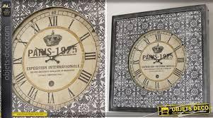 Grande Horloge Murale Carrée En Bois Vintage Achat Horloge Murale Carrée Style Rétro Avec Habillage Noir Et Argent