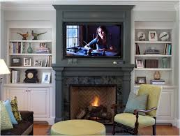 Decorations Tv Over Fireplace Ideas by Built In Bookcases With Fire Place Gas Inserts Tv Above Mantel