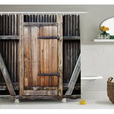 Wooden Bathroom Accessories Set by Antique Decor Shower Curtain Set Rustic Antique Wooden Door