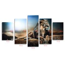 5pcs frameless canvas sitting lion wall art print painting home 5pcs x canvas painting without frame several tools