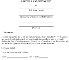 last will and testament free template