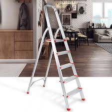 finether portable folding aluminum 5 step ladder with standing