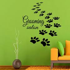 paw prints wall decals grooming salon dog puppy pets pet shop