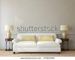 classic livingroom interior white couch near stock illustration