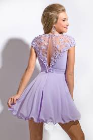 light purple short dress promotion light purple jewel a line chiffon hand made flower short