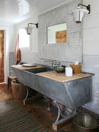 rustic diy bathroom vanity with double chadelier at top plus