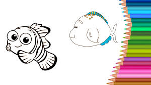 coloring pages fish colors learning cartoon kids drawing colors