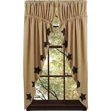 amazon com burlap natural prairie curtain black stencil stars set