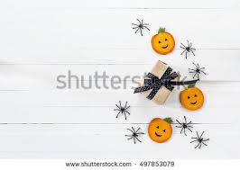 Decorative Spiders Halloween Table Setting Cutlery Decorative Spiders Stock Photo