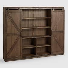 Bookshelves Wooden Wood Farmhouse Barn Door Bookcase World Market