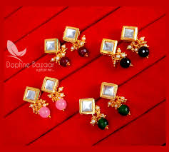 Best Gift For Women Super Saver Four Pairs Of Square Kundan Tops For Women Best Gift