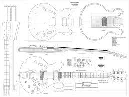 set of 4 gibson electric guitar plans es 335 cs 356 les paul