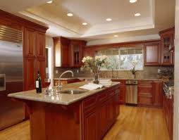 painting wood kitchen cabinets ideas modern recessed lights and reddish brown wood cabinet paint color