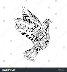 hand drawn flying dove anti stock vector 414280117