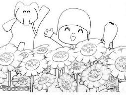 pocoyo friends sunflower garden coloring pocoyo