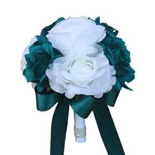 Teal Roses Colorful Artificial Flower Wedding Bouquet Corsage Silk Flower