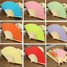 wedding paper fans candy color pocket folding bamboo fan paper fans wedding