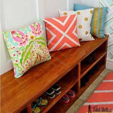 Free Woodworking Plans Bench With Storage by Ana White Build A Shoe Shelf Bench Featuring Her Tool Belt