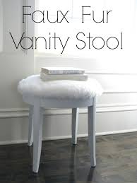 White Vanity Stool Bedroom Wooden White Furry Cushion Vanity Stools For Contemporary