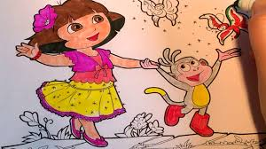 dora the explorer dora and boots catching a butterfly coloring