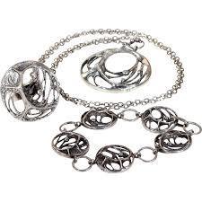 ring bracelet necklace images Vintage sten karl laine spider web bracelet necklace ring set png