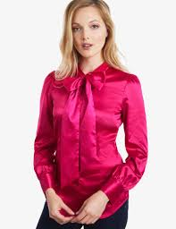 in satin blouses s fuchsia fitted satin blouse bow hawes curtis