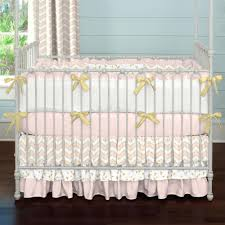 Nursery Bedding And Curtain Sets by Pale Pink And Gold Chevron 2 Piece Crib Bedding Set Carousel Designs