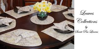 placemats for round table sweet pea linens leaf print collection of placemats for round