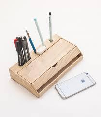 Wood Desk Organizer Handmade Modern Solid Wood Desk Organizer With Smartphone Stand