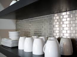 kitchen metal tile backsplashes hgtv stainless steel subway