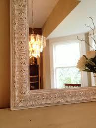 white chalk paint mirror distressed ornate wood frame shabby