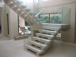 Glass Banisters Cost Frameless Glass Railing Bolted Into Solid Stairs Modern