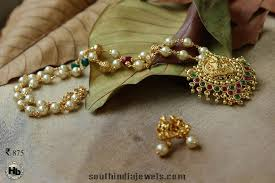 long pearl chain necklace images Temple lakshmi pendant with a pearl chain south india jewels jpg
