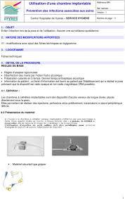 infection chambre implantable utilisation d une chambre implantable pdf