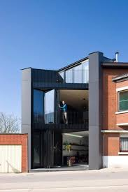 narrow house design black color ideas modern office design black