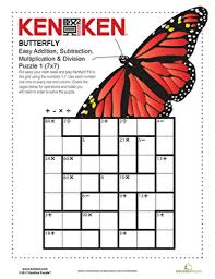butterfly kenken puzzle worksheet education com