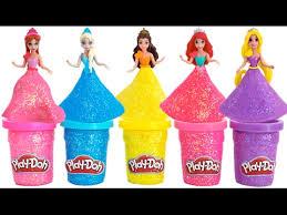 learn colors play doh sparkle disney princess dresses ariel elsa