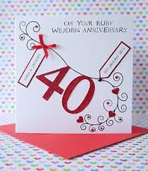 personalised handmade ruby wedding anniversary card ebay