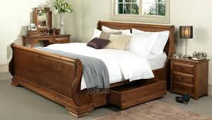 Cherry Wood Sleigh Bed Traditional Sleigh Bedplatform Sleigh Bed With Storage In Brown