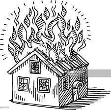 drawing houses burning house disaster drawing vector art getty images