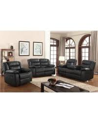 Leather Recliner Sofa Sets Sale Don U0027t Miss This Bargain Layla 3 Pc Black Faux Leather Living Room