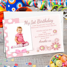 10 personalised girls first birthday party photo invitations n14