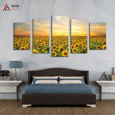 online get cheap sunflower framed art aliexpress com alibaba group 5 panels landscape painting printed on canvas home decoration wall art sunflowers pictures and frames for kitchen canvas prints