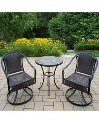 Patio Set With Swivel Chairs Amazing Deal On Oakland Living Corporation Hometown 3 Piece Bistro